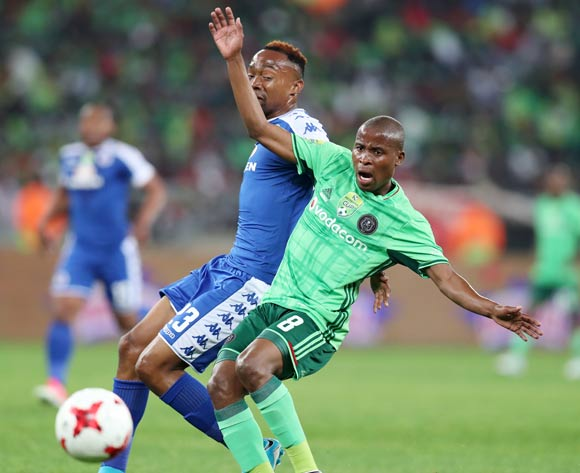 Thabo Matlaba of Orlando Pirates challenged by Thabo Mnyamane of Supersport United during the 2017 Nedbank Cup Final match between Supersport United and Orlando Pirates at the Moses Mabhida Stadium, Durban South Africa on 24 June 2017 ©Muzi Ntombela/BackpagePix