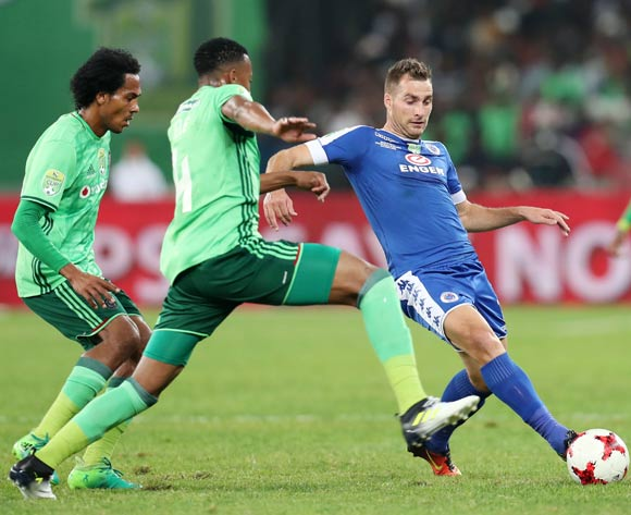 Bradley Grobler of Supersport United challenged by Happy Jele of Orlando Pirates during the 2017 Nedbank Cup Final match between Supersport United and Orlando Pirates at the Moses Mabhida Stadium, Durban South Africa on 24 June 2017 ©Muzi Ntombela/BackpagePix