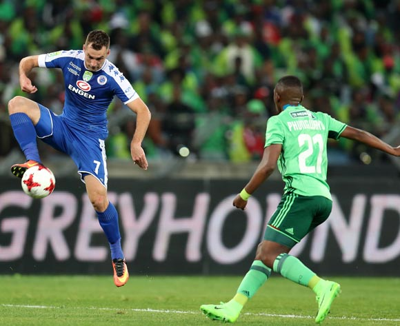 Bradley Grobler of Supersport United challenged by Patrick Phungwayo of Orlando Pirates during the 2017 Nedbank Cup Final match between Supersport United and Orlando Pirates at the Moses Mabhida Stadium, Durban South Africa on 24 June 2017 ©Muzi Ntombela/BackpagePix