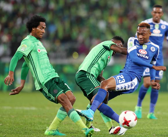 Thabo Mnyamane of Supersport United challenged by Mpho Makola and Issa Sarr of Orlando Pirates during the 2017 Nedbank Cup Final match between Supersport United and Orlando Pirates at the Moses Mabhida Stadium, Durban South Africa on 24 June 2017 ©Muzi Ntombela/BackpagePix
