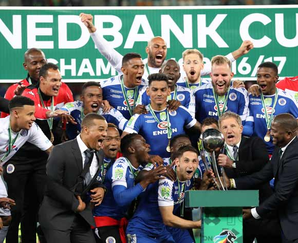 Dean Furman and Stuart Baxter coach of Supersport United celebrates lifting the trophy during the 2017 Nedbank Cup Final match between Supersport United and Orlando Pirates at the Moses Mabhida Stadium, Durban South Africa on 24 June 2017 ©Muzi Ntombela/BackpagePix