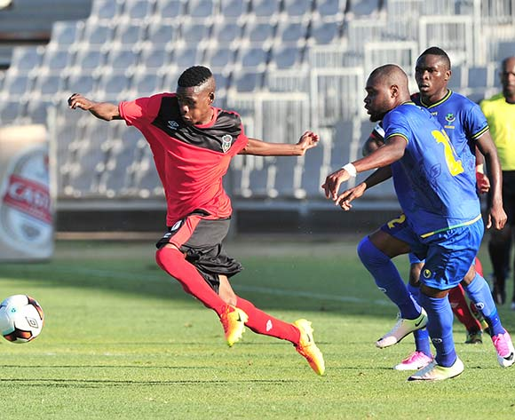 Dalitso Sailesi of Malawi challenged by Shomari Kapombe of Tanzania during the Cosafa Castle Cup match between Tanzania and Malawi at the Moruleng Stadium in Rustenburg on 25 June 2017 ©Samuel Shivambu/BackpagePix