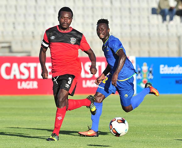 Francis Mulimbika of Malawi challenged by Saimon Msuva of Tanzania during the Cosafa Castle Cup match between Tanzania and Malawi at the Moruleng Stadium in Rustenburg on 25 June 2017 ©Samuel Shivambu/BackpagePix