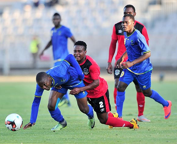Mbaraka Abed of Tanzania challenged by Stanley Sanudi of Malawi during the Cosafa Castle Cup match between Tanzania and Malawi at the Moruleng Stadium in Rustenburg on 25 June 2017 ©Samuel Shivambu/BackpagePix