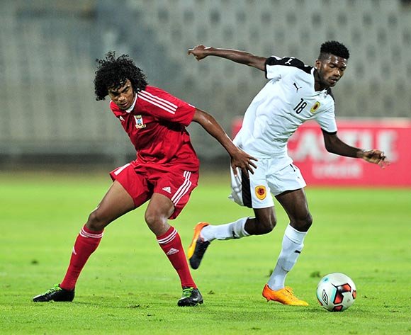 Joseph Perticots of Mauritius challenged by Herenilson Carma of Angola during the Cosafa Castle Cup match between Mauritius and Angola at the Moruleng Stadium in Rustenburg on 25 June 2017 ©Samuel Shivambu/BackpagePix