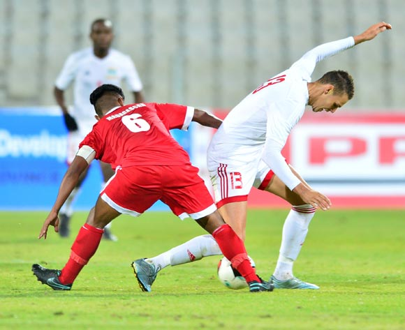 Karl Hall of Seychelles challenged by Ando Manoelantsoa of Madagascar during the Cosafa Castle Cup match between Madagascar and Seychelles at the Moruleng Stadium in Rustenburg on 26 June 2017 ©Samuel Shivambu/BackpagePix