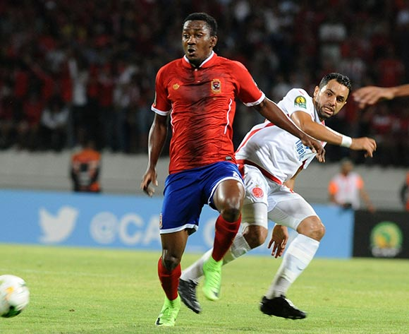 Wydad Athletic Club Rabeh Youssef  (R) fights for the ball with Al Ahly Sporting Club Oluwafemi Ajayi (L) during the 2017 CAF Champions League game between Wydad Athletic Club  and Al Ahly Sporting Club at Stade Mohamed V in Casablanca, Morocco on 20 June 2017 © BackpagePix
