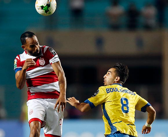 Club Africain player Saber Khalifa (L) fights for the ball with FATH Union Sport player  Badr Boulahroud (R) during the 2017 CAF Confederations Cup game between Club Africain and FATH Union Sport at Stade Olympique Rades in Tunis, Tunisia on 20 June 2017 © BackpagePix