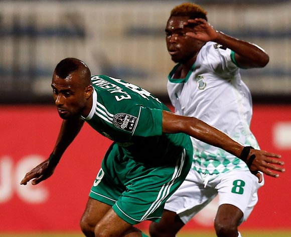 Al Ahly Tripoli player Vivien Mabide (L) fights for the ball with Caps United player  Moses muchengwa (R) during the 2017 CAF Champions League game between Al Ahly Tripoli and Caps United in Sfax, Tunisia on 21 June 2017 © BackpagePix