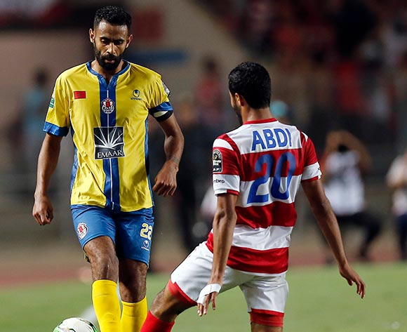 Club Africain player  Ali Abdi (L) fights for the ball with FATH Union Sport player  El Mehdi El Bassil (R) during the 2017 CAF Confederations Cup game between Club Africain and FATH Union Sport at Stade Olympique Rades in Tunis, Tunisia on 20 June 2017 © BackpagePix