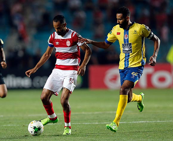 Club Africain player Saber Khalifa (L) fights for the ball with FATH Union Sport player El Mehdi El Bassil   (R) during the 2017 CAF Confederations Cup game between Club Africain and FATH Union Sport at Stade Olympique Rades in Tunis, Tunisia on 20 June 2017 © BackpagePix