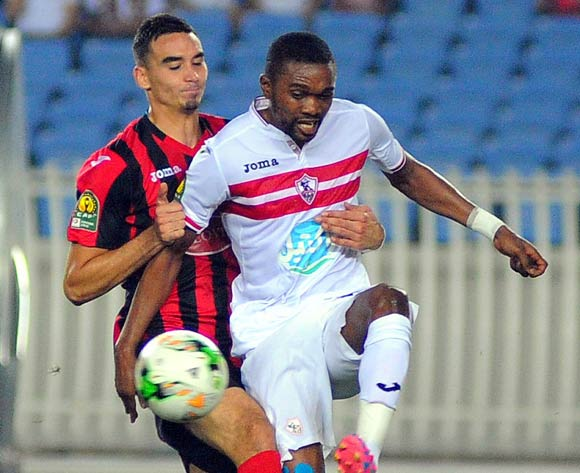 USM Alger player  (L) fights for the ball with Zamalek Aly Hefny Abdalla Hasanin Salama (R) during the 2017 CAF Champions League game between USM Alger and Zamalek at Stade 5 Juillet 1962 in Algiers, Algeria on 21 June 2017 © BackpagePix