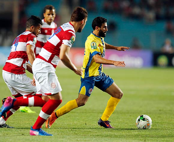 FATH Union Sport player  Mohamed Fouzair (R)  fights for the ball with Club Africain players (L)  during the 2017 CAF Confederations Cup game between Club Africain and FATH Union Sport at Stade Olympique Rades in Tunis, Tunisia on 20 June 2017 © BackpagePix