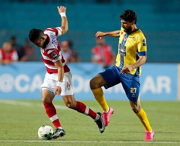 Club Africain player  Issam Dkhili (L) fights for the ball with FATH Union Sport player   Brahim El Bahri (R) during the 2017 CAF Confederations Cup game between Club Africain and FATH Union Sport at Stade Olympique Rades in Tunis, Tunisia on 20 June 2017 © BackpagePix