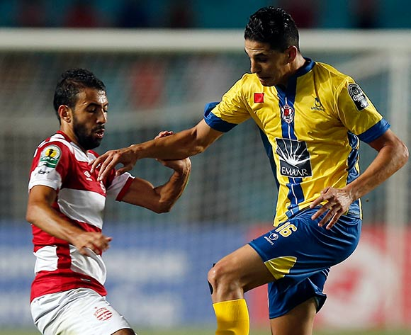 Club Africain player Ayman Brahim (L) fights for the ball with FATH Union Sport player  Mohamed Nahiri (R) during the 2017 CAF Confederations Cup game between Club Africain and FATH Union Sport at Stade Olympique Rades in Tunis, Tunisia on 20 June 2017 © BackpagePix