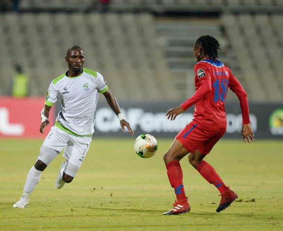 Robert Ngambi of Platinum Stars during the CAF Confederation Cup match between Platinum Stars and Mbabane Swallows on the 08 July 2017 at Moruleng Stadium  © Sydney Mahlangu /BackpagePix