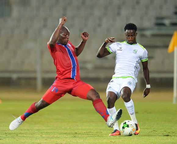 Sabelo Wilson Ndzinisa of Mbabane Swallows during the CAF Confederation Cup match between Platinum Stars and Mbabane Swallows on the 08 July 2017 at Moruleng Stadium  © Sydney Mahlangu /BackpagePix