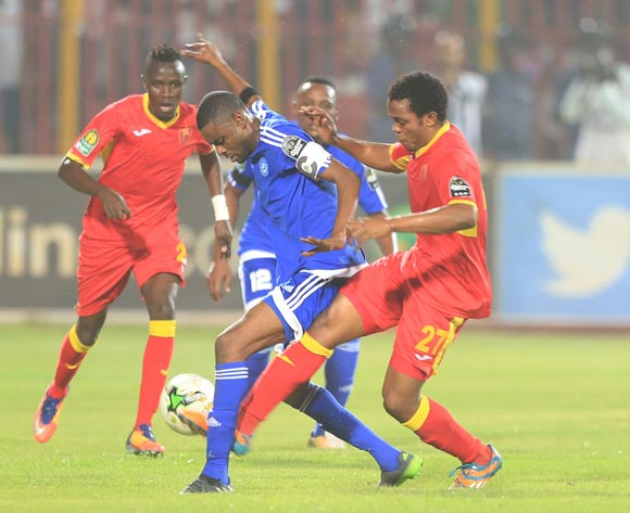 Mohamed Ahmed Bashir of Hilal tackled by Amir Kamal Suliman of Merreikh during the 2017 CAF Champions League football match between El Merreikh and El Hilal in Sudan on 30 June 2017 ©BackpagePix