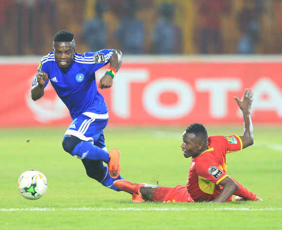 Abednego Kofi Tetteh of Hilal evades tackle from Amir Kamal Suliman of Merreikh during the 2017 CAF Champions League football match between El Merreikh and El Hilal in Sudan on 30 June 2017 ©BackpagePix