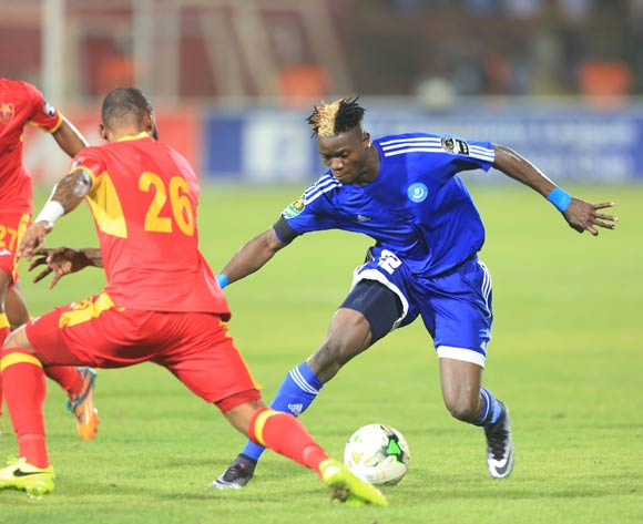 Soualio Dabila Ouattara of Hilal evades tackle from Serge Pascal Wawa of Merreikh during the 2017 CAF Champions League football match between El Merreikh and El Hilal in Sudan on 30 June 2017 ©BackpagePix