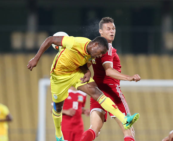Jimmy Tigere of Zimbabwe challenged by Karl Hall of Seychelles during the 2017 Cosafa Castle Cup match between Zimbabwe and Seychelles at the Royal Bafokeng Stadium, Rustenburg South Africa on 30 June 2017 ©Muzi Ntombela/BackpagePix