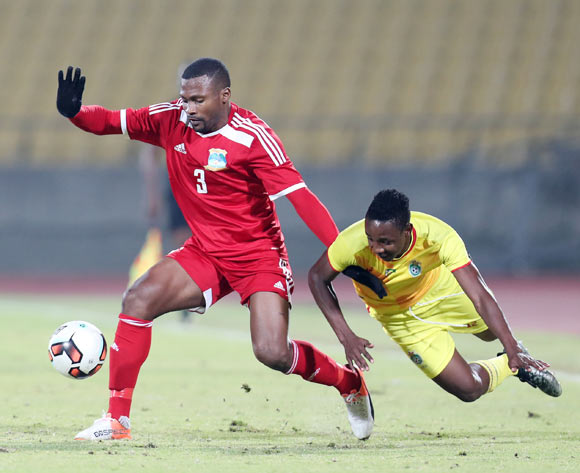 Prince Dube Mpumelelo of Zimbabwe fouled by Bertrand Esther of Seychelles during the 2017 Cosafa Castle Cup match between Zimbabwe and Seychelles at the Royal Bafokeng Stadium, Rustenburg South Africa on 30 June 2017 ©Muzi Ntombela/BackpagePix