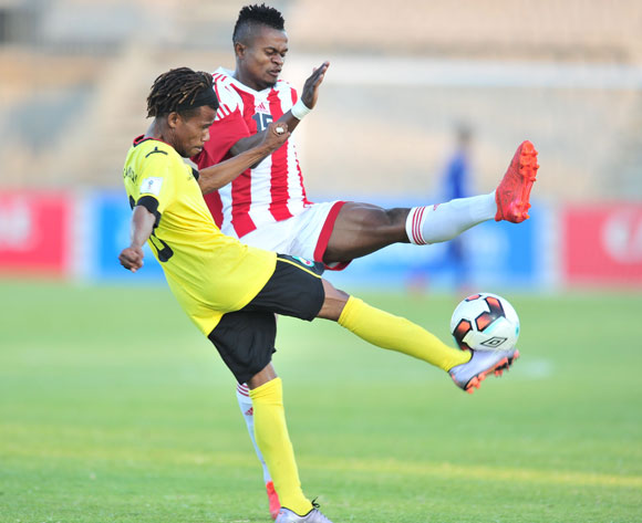 Nuno De Sousa of Mozambique challenged by Jaotombo Bourahim of Madagascar during the 2017 Cosafa Castle Cup match between Mozambique and Madagascar at Morulen Stadium, Rustenburg South Africa on 30 June 2017 ©Samuel Shivambu/BackpagePix
