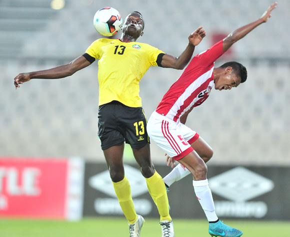 Feliciano Jone of Mozambique challenged by Andoniaina Andrianavalona of Madagascar during the 2017 Cosafa Castle Cup match between Mozambique and Madagascar at Morulen Stadium, Rustenburg South Africa on 30 June 2017 ©Samuel Shivambu/BackpagePix