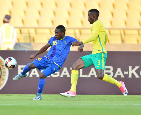Yahaya Ramadan of Tanzania challenged Sakhile Maela of South Africa during 2017 Cosafa Castle Cup match between South Africa and Tanzania at Royal Bafokeng Stadium in Rustenburg on 02 July 2017 ©Samuel Shivambu/BackpagePix