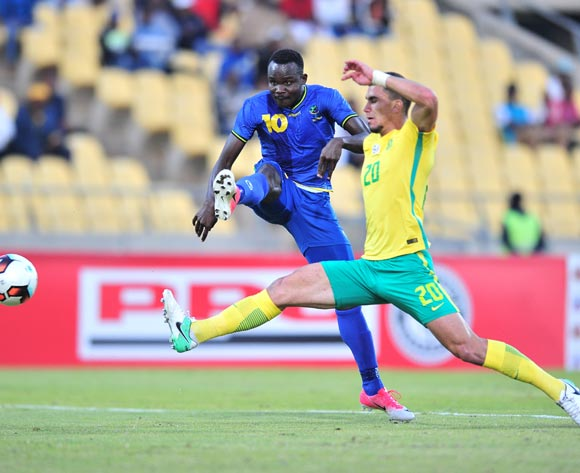 Elias Maguri of Tanzania challenged by Lorenzo Gordinho of South Africa during 2017 Cosafa Castle Cup match between South Africa and Tanzania at Royal Bafokeng Stadium in Rustenburg on 02 July 2017 ©Samuel Shivambu/BackpagePix