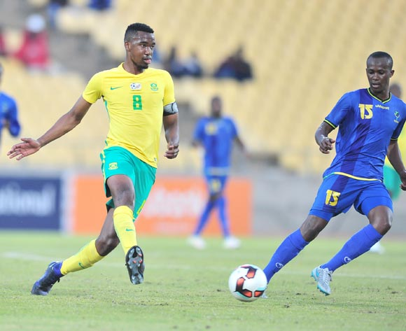 Lehogonolo Masalesa of South African challenged by Raphael Loth of Tanzania during 2017 Cosafa Castle Cup match between South Africa and Tanzania at Royal Bafokeng Stadium in Rustenburg on 02 July 2017 ©Samuel Shivambu/BackpagePix