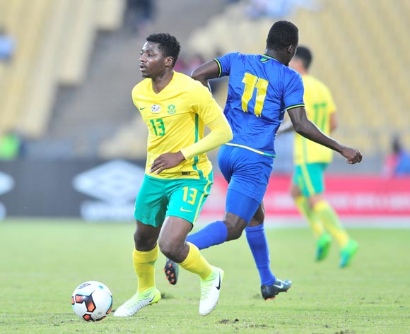Thendo Mukumela of South African challenged by Thomas Ulimwengu of Tanzania during 2017 Cosafa Castle Cup match between South Africa and Tanzania at Royal Bafokeng Stadium in Rustenburg on 02 July 2017 ©Samuel Shivambu/BackpagePix