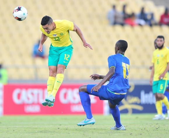 Cole Alexander of South African challenged by Raphael Loth of Tanzania during 2017 Cosafa Castle Cup match between South Africa and Tanzania at Royal Bafokeng Stadium in Rustenburg on 02 July 2017 ©Samuel Shivambu/BackpagePix