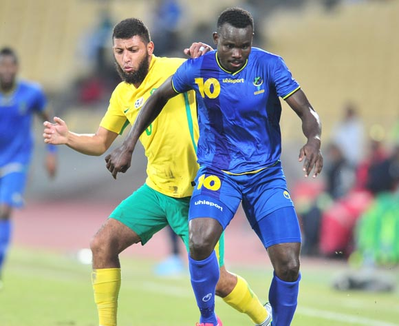 Elias Maguri of Tanzania challenged by Riyaad Norodien of South African during 2017 Cosafa Castle Cup match between South Africa and Tanzania at Royal Bafokeng Stadium in Rustenburg on 02 July 2017 ©Samuel Shivambu/BackpagePix