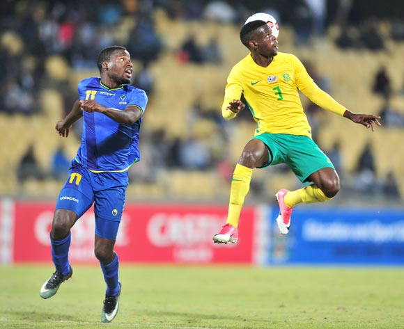 Sakhile Maela of South African challenged by Thomas Ulimwengu of Tanzania during 2017 Cosafa Castle Cup match between South Africa and Tanzania at Royal Bafokeng Stadium in Rustenburg on 02 July 2017 ©Samuel Shivambu/BackpagePix
