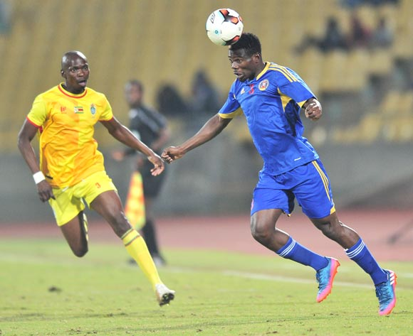 Siboniso Ndzabandzab of Swaziland challenged by Ocean Mushure of Zimbabwe during 2017 Cosafa Castle Cup match between Swaziland and Zimbabwe at Royal Bafokeng Stadium in Rustenburg on 02 July 2017 ©Samuel Shivambu/BackpagePix