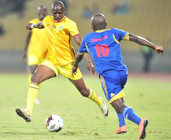 Ocean Mushure of Zimbabwe challenged by Xolani Sibandze of Swaziland during 2017 Cosafa Castle Cup match between Swaziland and Zimbabwe at Royal Bafokeng Stadium in Rustenburg on 02 July 2017 ©Samuel Shivambu/BackpagePix