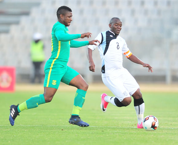 Lesego Galenamotlhale of Botswana challenged by Mohau Mokate of South Africa during 2017 Cosafa Castle Cup match between Botswana and South Africa at Moruleng Stadium in Rustenburg on 04 July 2017 ©Samuel Shivambu/BackpagePix