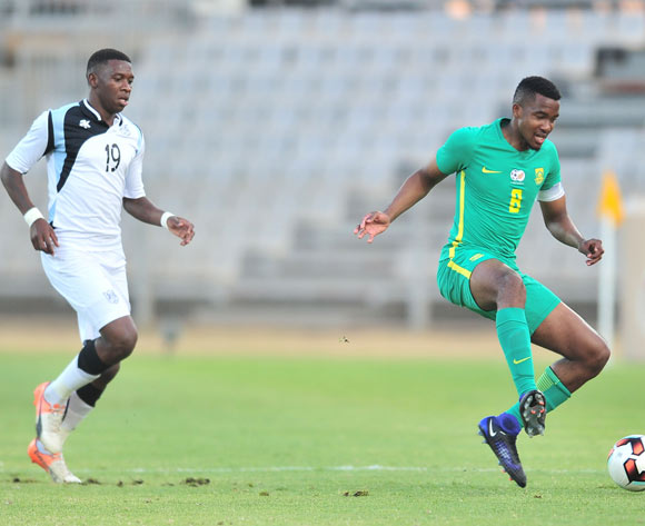 Lehlogonolo Masalesa of South Africa challenged by Tumisang Orebonye of Botswana during 2017 Cosafa Castle Cup match between Botswana and South Africa at Moruleng Stadium in Rustenburg on 04 July 2017 ©Samuel Shivambu/BackpagePix