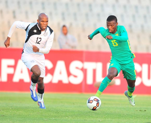 Ndunduzo Sibiya of South Africa challenged by Lemponye Tshireletso of Botswana during 2017 Cosafa Castle Cup match between Botswana and South Africa at Moruleng Stadium in Rustenburg on 04 July 2017 ©Samuel Shivambu/BackpagePix