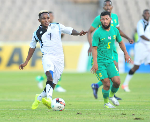 Kabelo Seakanyeng of Botswana challenged by Riyaad Norodien of South Africa during 2017 Cosafa Castle Cup match between Botswana and South Africa at Moruleng Stadium in Rustenburg on 04 July 2017 ©Samuel Shivambu/BackpagePix