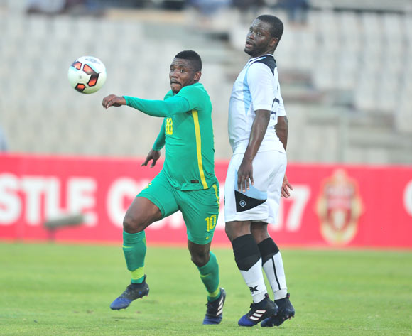Mohau Mokate of South Africa challenged by Moretsi Mosimanyana of Botswana during 2017 Cosafa Castle Cup match between Botswana and South Africa at Moruleng Stadium in Rustenburg on 04 July 2017 ©Samuel Shivambu/BackpagePix