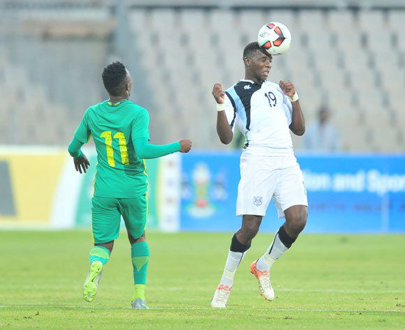 Tumisang Orebonye of Botswana challenged by Lebohang Maboe of South Africa during 2017 Cosafa Castle Cup match between Botswana and South Africa at Moruleng Stadium in Rustenburg on 04 July 2017 ©Samuel Shivambu/BackpagePix