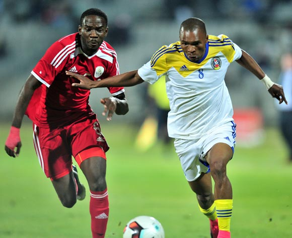 Bonginkosi Dlamini of Swaziland challenged by Horaed Larry of Namibia during 2017 Cosafa Castle Cup match between Namibia and Swaziland at Moruleng Stadium in Rustenburg on 04 July 2017 ©Samuel Shivambu/BackpagePix