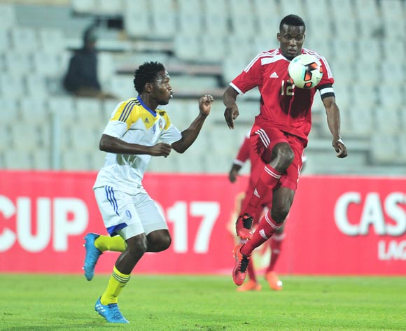 Ronald Ketjijere of Namibia challenged by Sifiso Mates of Swaziland during 2017 Cosafa Castle Cup match between Namibia and Swaziland at Moruleng Stadium in Rustenburg on 04 July 2017 ©Samuel Shivambu/BackpagePix