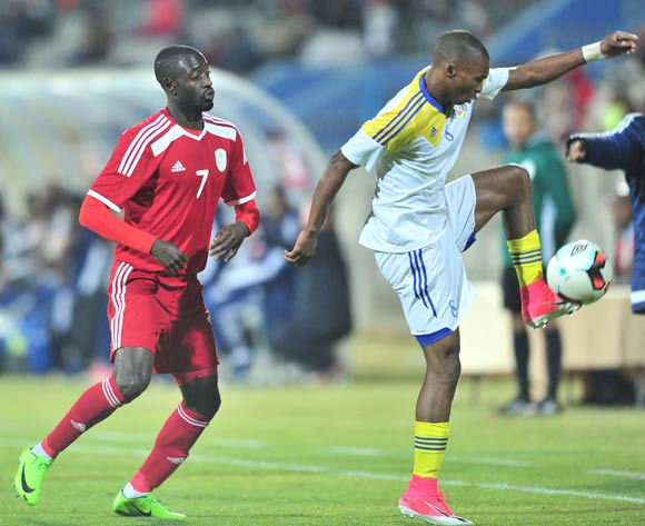 Bonginkosi Dlamini of Swaziland challenged by Deon Hotto of Namibia during 2017 Cosafa Castle Cup match between Namibia and Swaziland at Moruleng Stadium in Rustenburg on 04 July 2017 ©Samuel Shivambu/BackpagePix