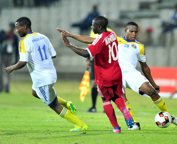 Samuel Gumbi of Swaziland challenged by Wangu Gome of Namibia during 2017 Cosafa Castle Cup match between Namibia and Swaziland at Moruleng Stadium in Rustenburg on 04 July 2017 ©Samuel Shivambu/BackpagePix
