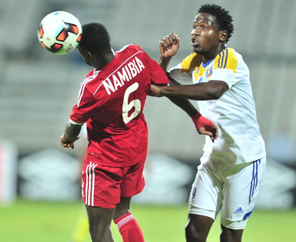Horaeb Larry of Namibia challenged by Sifiso Mates of Swaziland during 2017 Cosafa Castle Cup match between Namibia and Swaziland at Moruleng Stadium in Rustenburg on 04 July 2017 ©Samuel Shivambu/BackpagePix