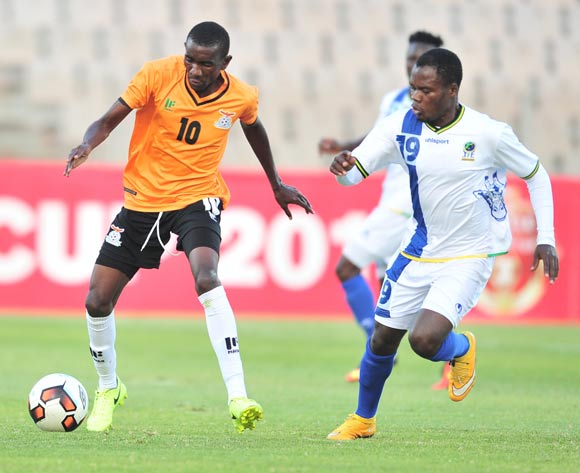 Diamond Chikwekwe of Zambia challenged by Mzamiru Said of Tanzania during 2017 Cosafa Castle Cup match between Zambia and Tanzania at Moruleng Stadium in Rustenburg on 05 July 2017 ©Samuel Shivambu/BackpagePix