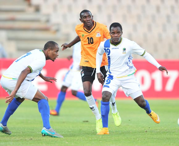 Mzamiru Said of Tanzania challenged by Diamond Chikwekwe of Zambia during 2017 Cosafa Castle Cup match between Zambia and Tanzania at Moruleng Stadium in Rustenburg on 05 July 2017 ©Samuel Shivambu/BackpagePix
